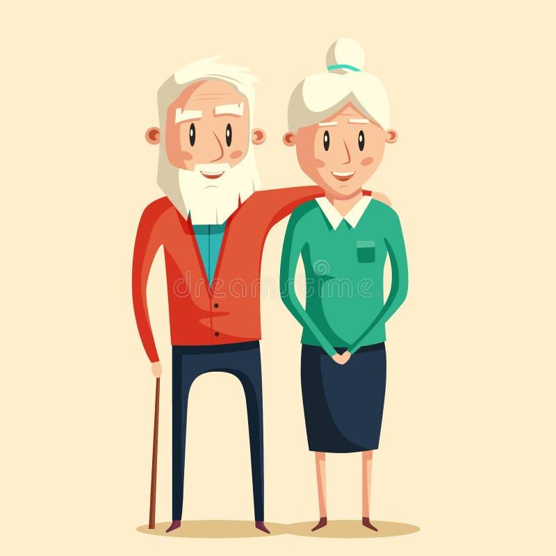 grandparents счастливые иллюстрация мальчика неудовлетворенная шаржем меньший вектор иллюстрация штока