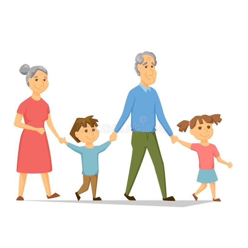 Grandparents с внучатами иллюстрация штока