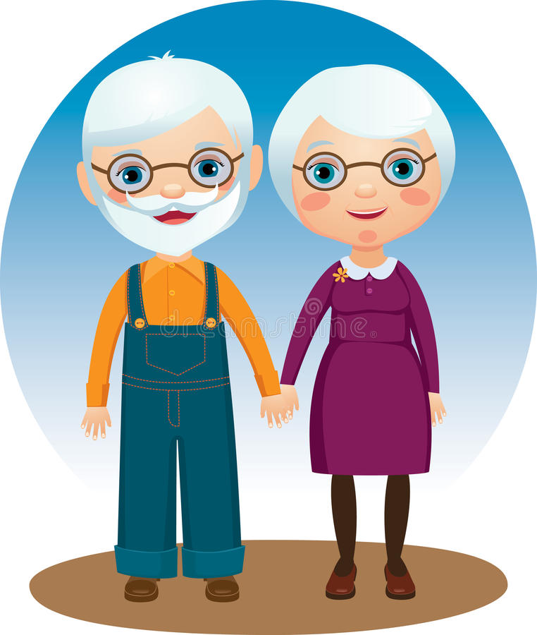 Grandparents. Dear elderly couple holding hands vector illustration