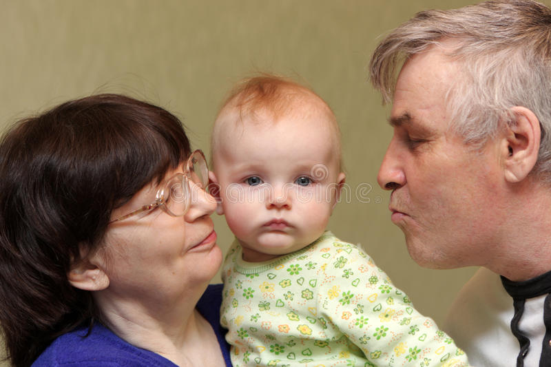 Download Grandparents with baby stock image. Image of cute, care - 15213227