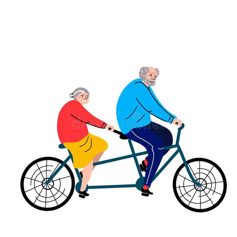 Grandparents on a bicycle. Vector flat portrait of old cute loving couple riding double bike. Cartoon style. Love forever. stock illustration
