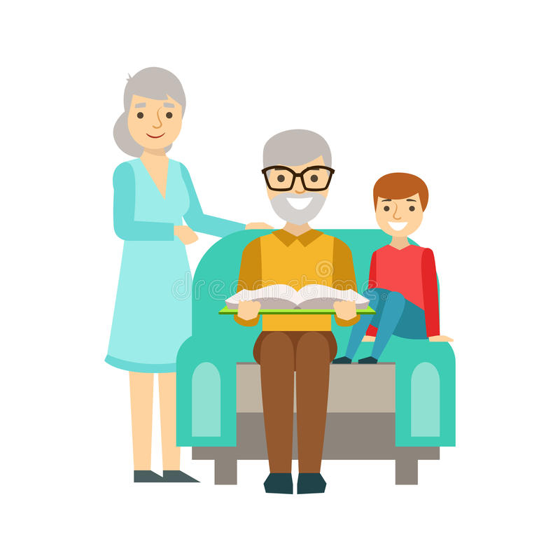 Grandparents And Boy Reading A Book, Happy Family Having Good Time Together vector illustration