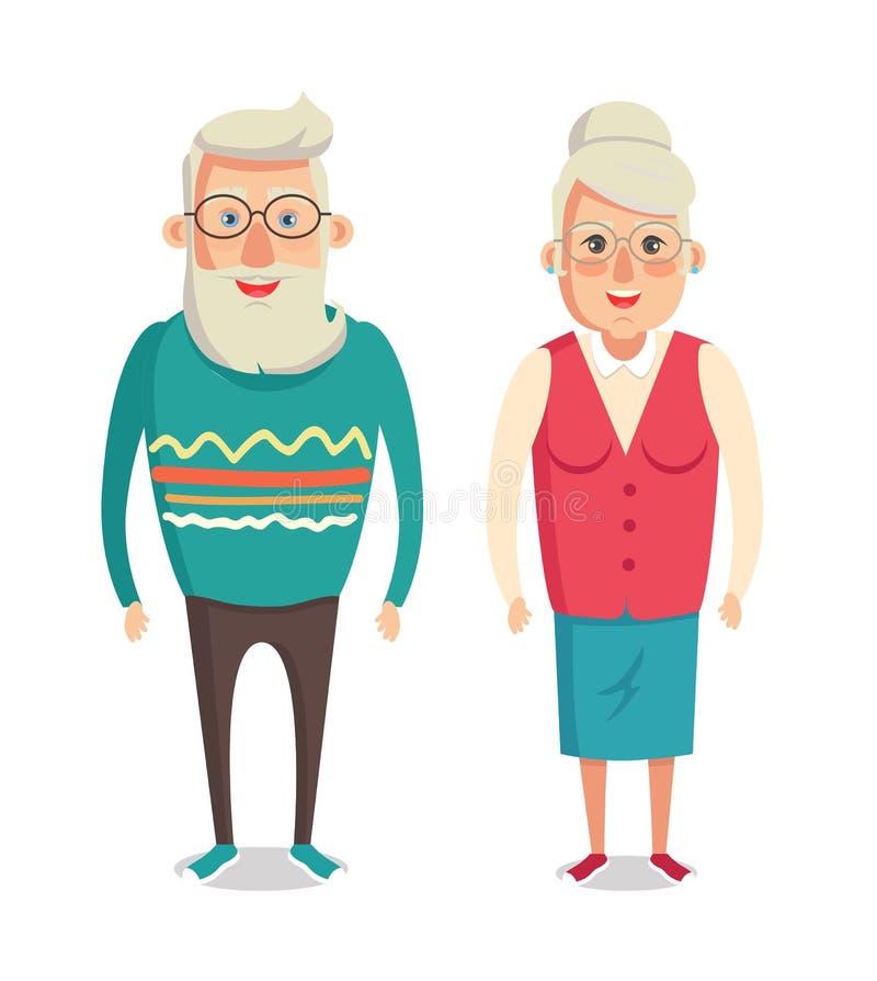 Grandparents Cartoon Character Grandma and Grandpa royalty free illustration
