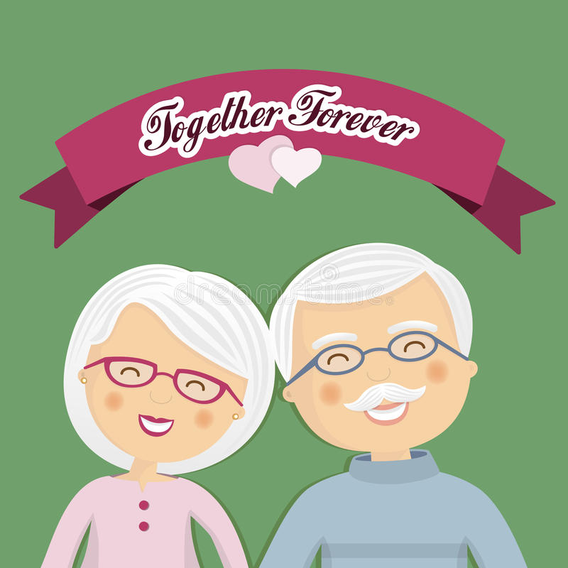 Grandparents celebrating their love. With ribbon and a message vector illustration