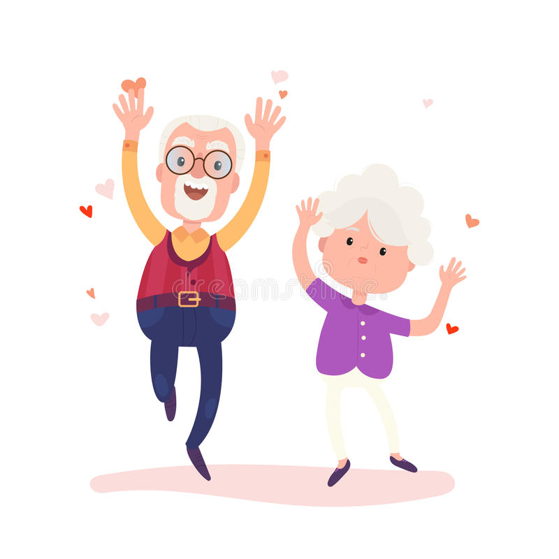 Grandparents characters are together forever in love. Stock vector Valentine`s Day concept illustration. Old cute loving couple isolated on white background royalty free illustration