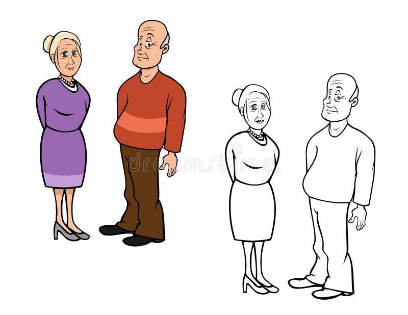 Grandparents coloring book. Cartoon illustration of a grandparents coloring book royalty free illustration