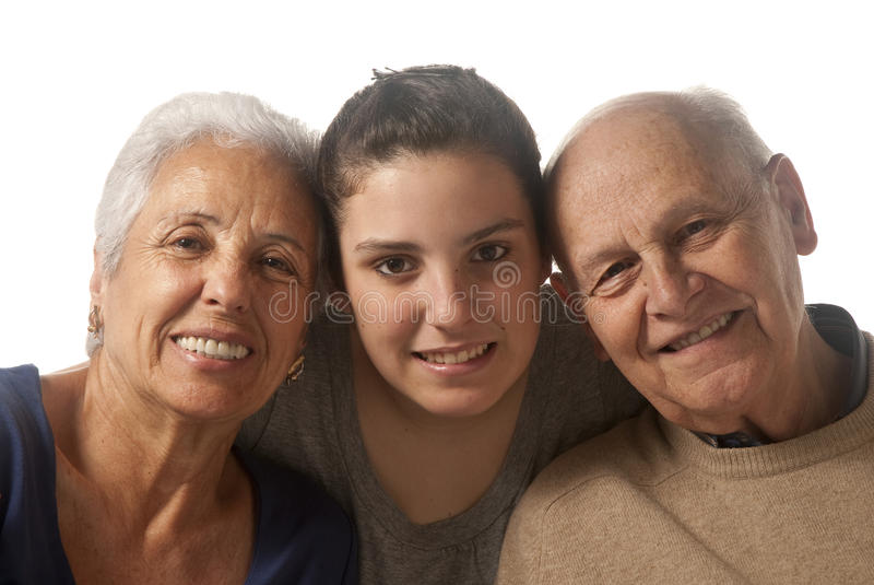 Grandparents com neta imagens de stock