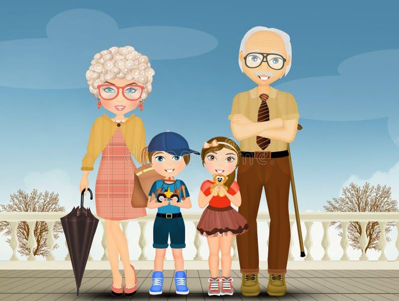 Grandparents com netos ilustração royalty free