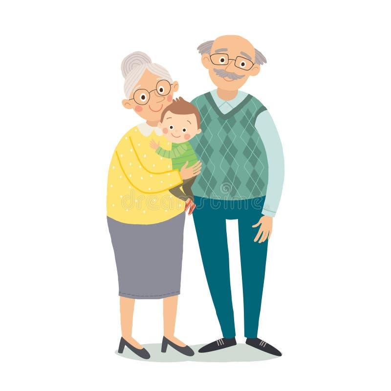 Grandparents com netos Avó, grandfother e neto pequeno Vetor eps tirado mão 10 dos desenhos animados ilustração stock