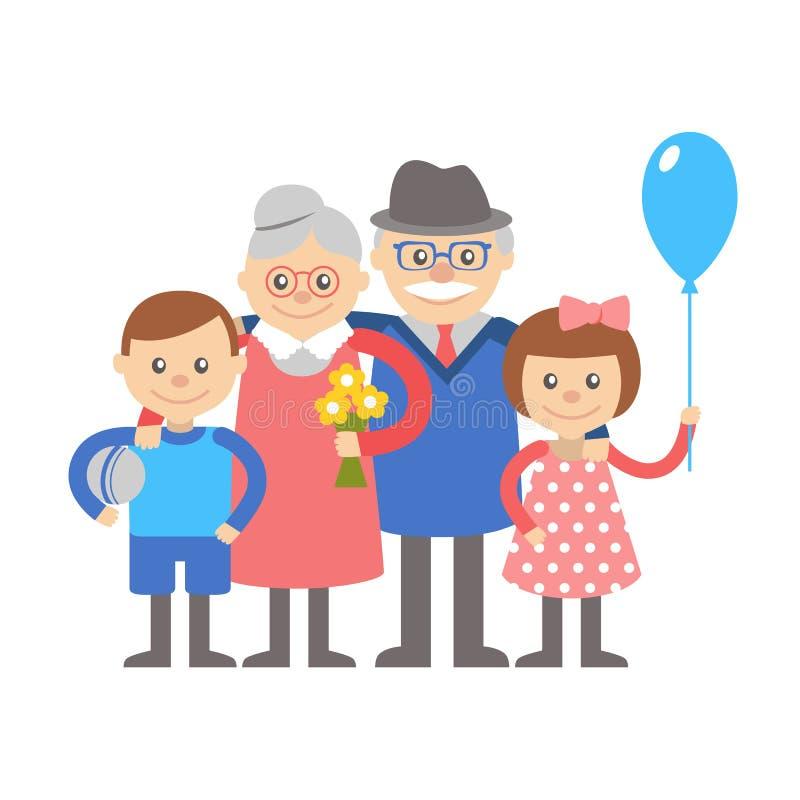 Grandparents com netos Impressão digital ilustração royalty free
