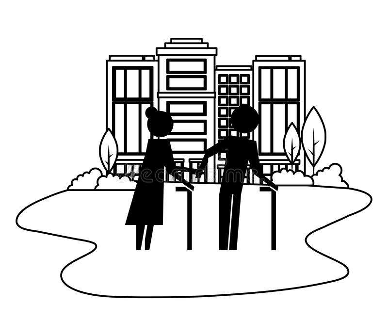 Grandparents couple in cityscape avatars silhouettes. Vector illustration design royalty free illustration