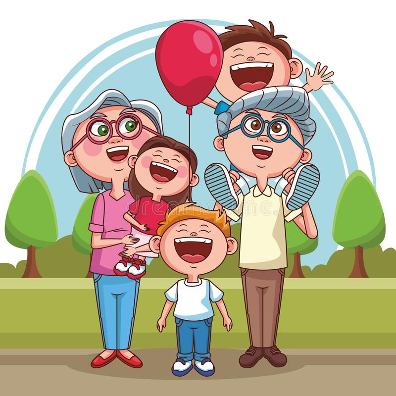 Grandparents and kids. Grandparents couple with cute childs at park cartoons vector illustration graphic design royalty free illustration