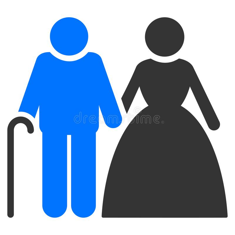Grandparents Couple Flat Icon. Grandparents Couple flat vector illustration. An isolated icon on a white background vector illustration