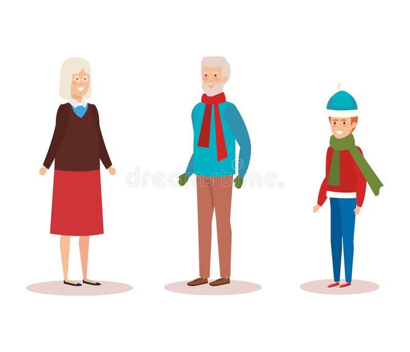 Grandparents couple with grandson vector illustration