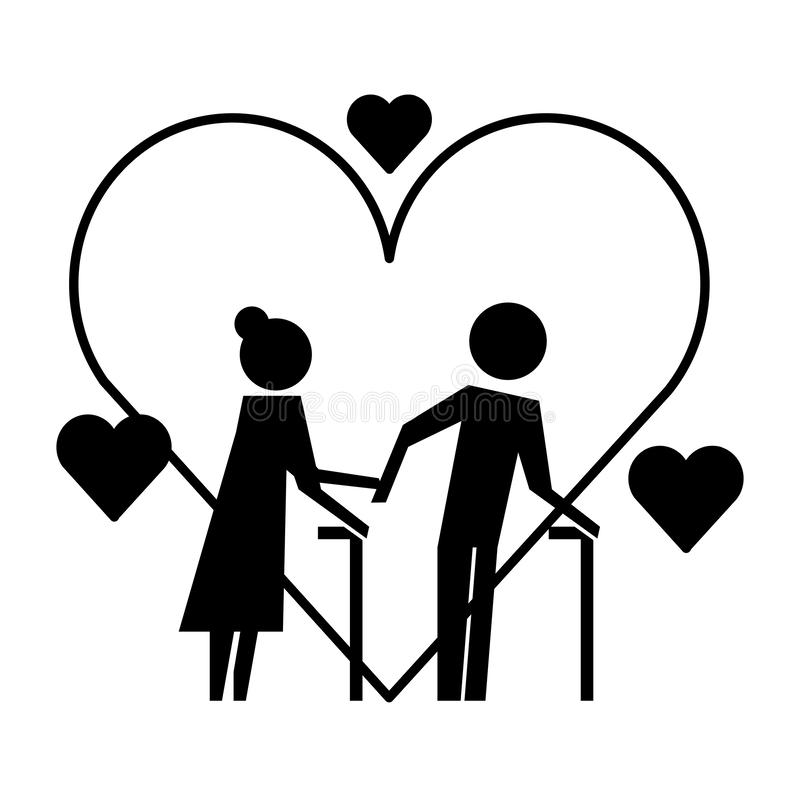 Grandparents couple with hearts silhouettes. Vector illustration design stock illustration