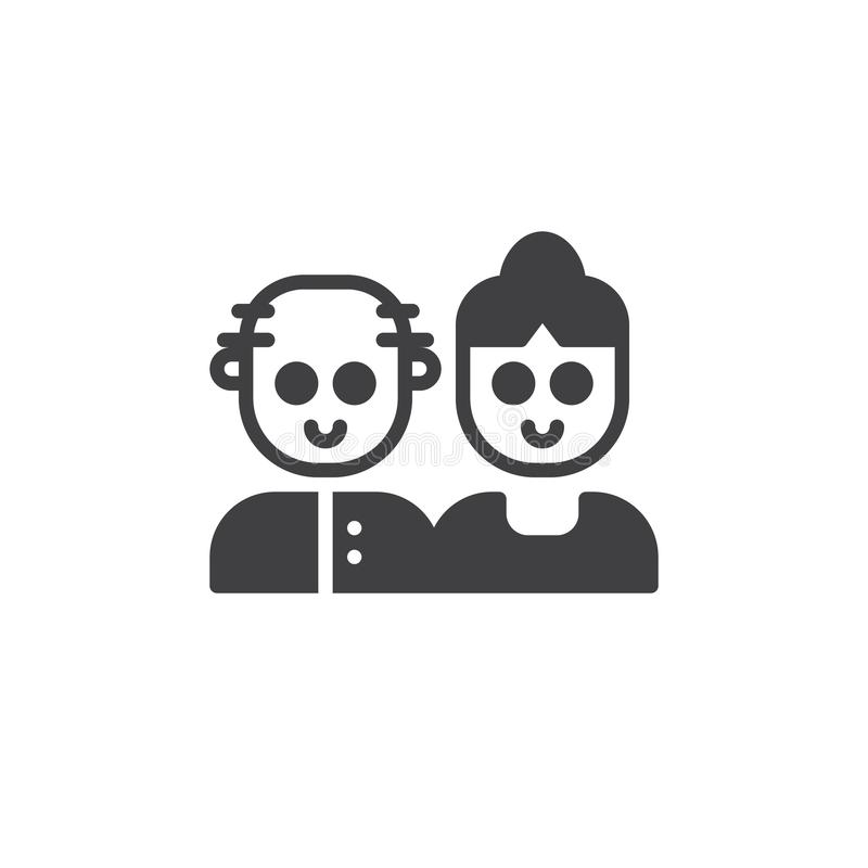 Grandparents couple icon vector. Filled flat sign, solid pictogram isolated on white. Symbol, logo illustration stock illustration