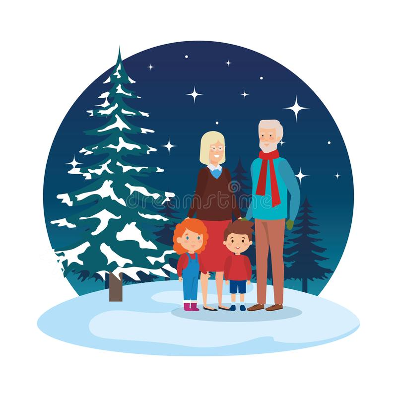 Grandparents couple with kids in snowscape stock illustration