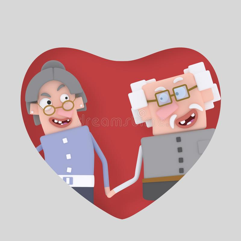 Grandparents couple posing into red heart. 3D. 3D Isolate. Easy background remove. Easy color change. Easy combine vector illustration