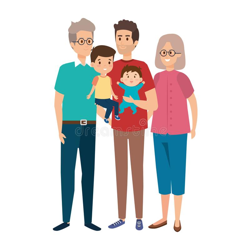 Grandparents couple with son and kids. Vector illustration design vector illustration