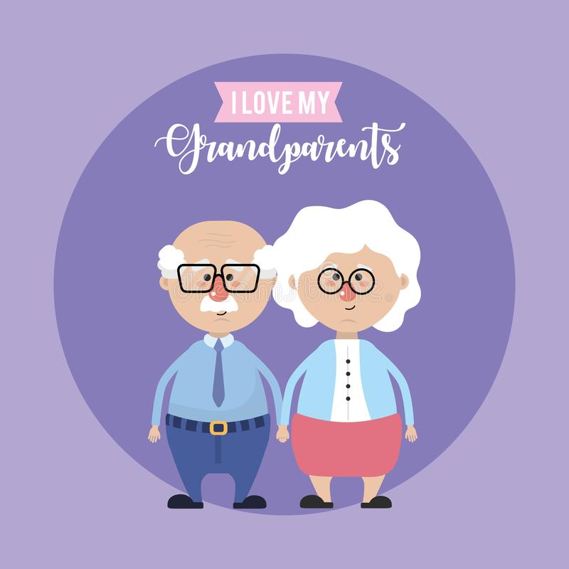 Grandparents couple together and cute love. Vector illustration vector illustration