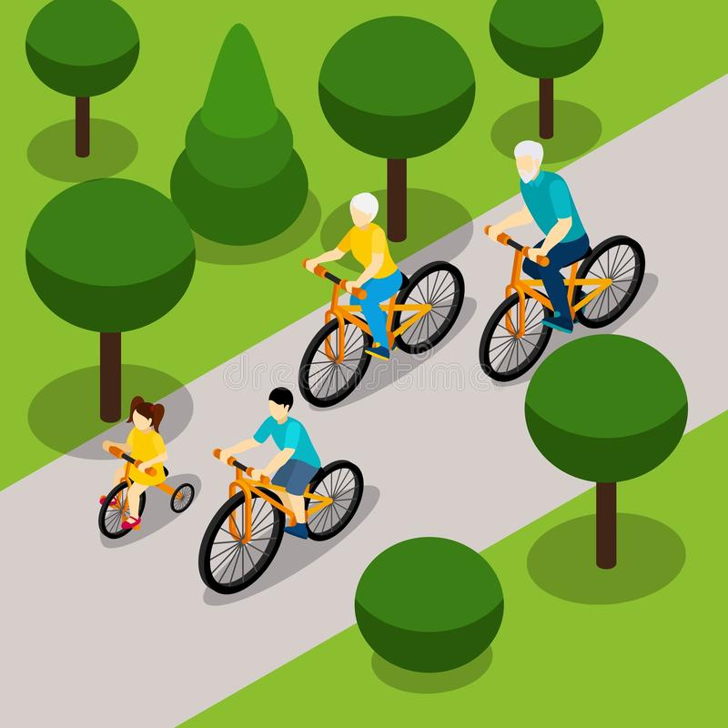 Grandparents Cycling with Children Isometric Banner. Grandparents with two children cycling in park isometric banner on retired people active lifestyle abstract stock illustration