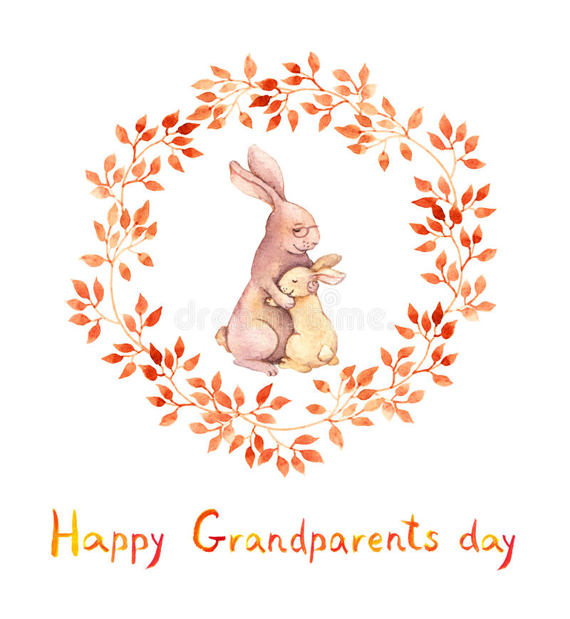 Grandparents day card. Grandma rabbit embrace her grandchild. Watercolor. Grandparents day card. Grandma rabbit hugs her grandchild. Watercolor royalty free illustration