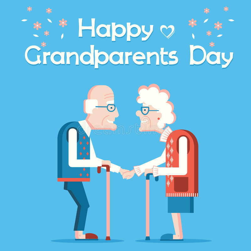 Grandparents Day card with old people. Vector old people stock illustration