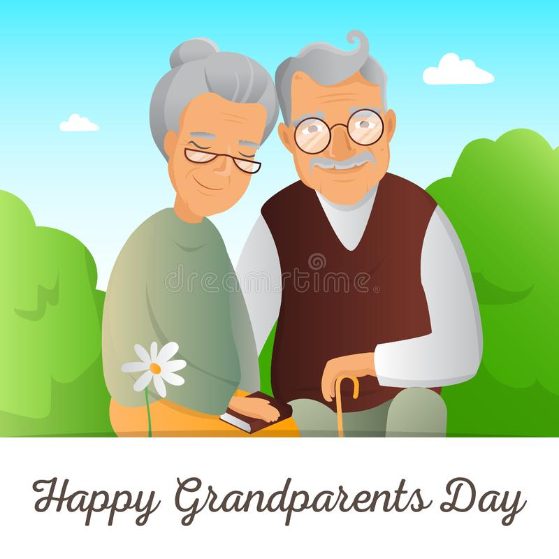 Grandparents Day concept. Illustration with grandfather and grandmother. Cute old couple greeting card stock illustration