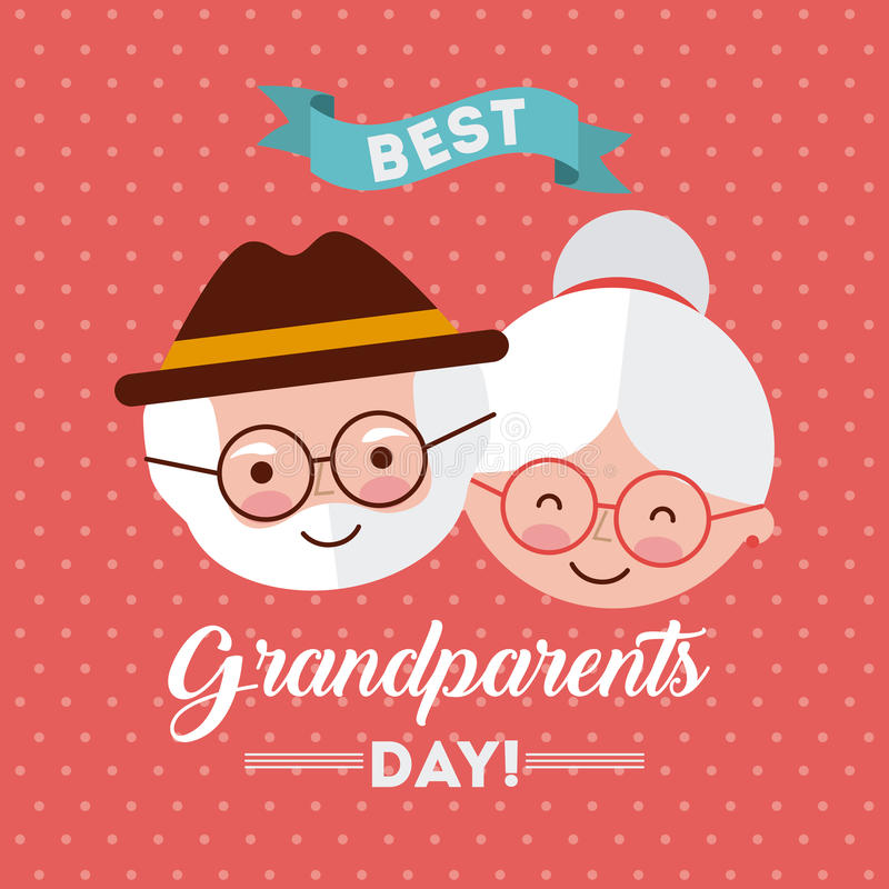 Grandparents day design. Cute grandparents faces over peach dotted background. Vector illustration stock illustration