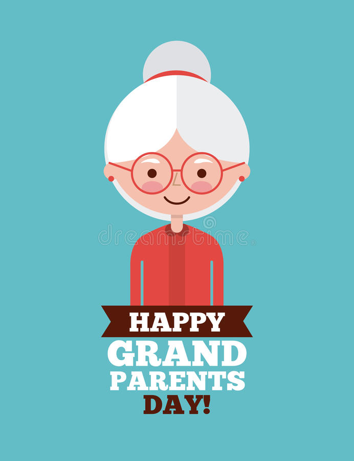 Grandparents day design. Cute grandma with gray hair and happy grandparents day sign over teal background. Vector illustration vector illustration