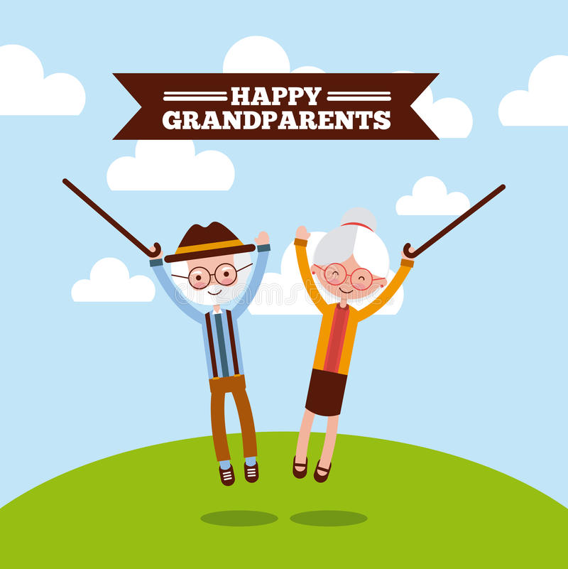 Grandparents day design. Jumping grandparents with walking sticks over green and blue background with happy grandparents sign. Vector illustration vector illustration
