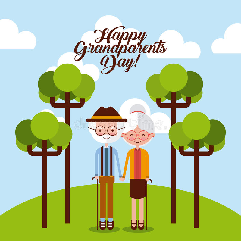 Grandparents day design. Grandparents at the park with trees and happy grandparents sign. Vector illustration stock illustration