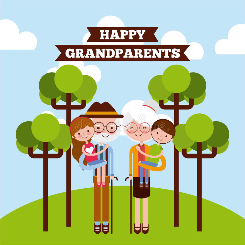 Grandparents day design. Grandparents picking grandchildren up at the park with trees and happy grandparents sign. Vector illustration vector illustration