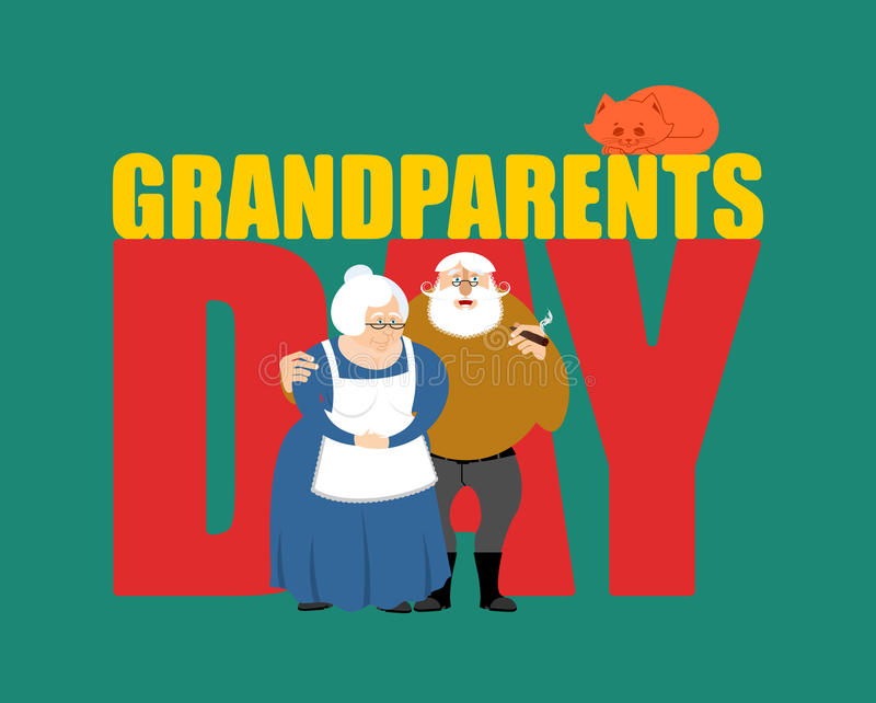 Grandparents Day. Grandmother and grandfather. Mature couple.  vector illustration