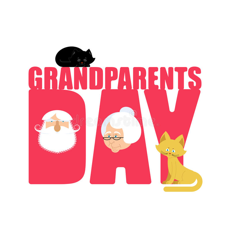 Grandparents Day. Grandmother and grandfather. Mature couple.  stock illustration