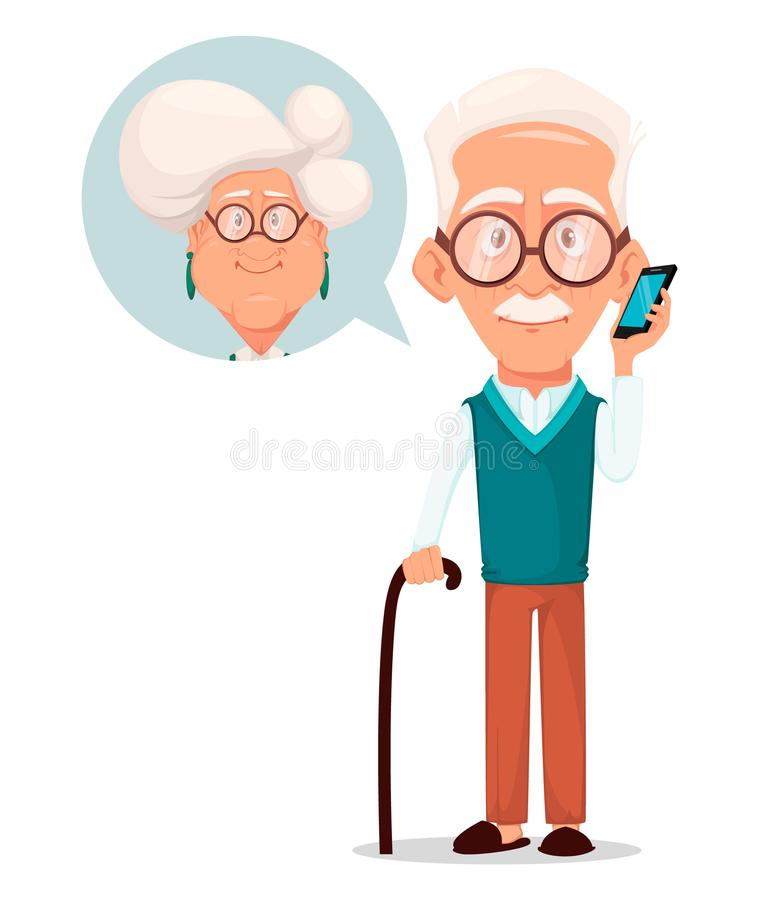 Grandparents day greeting card. Grandfather calling to grandmother. Silver haired grandma and grandpa. Pretty cartoon characters. Vector illustration on white royalty free illustration