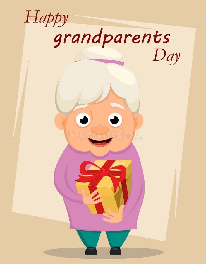 Grandparents day greeting card. Grandmother holding gift box. Vector illustration royalty free illustration