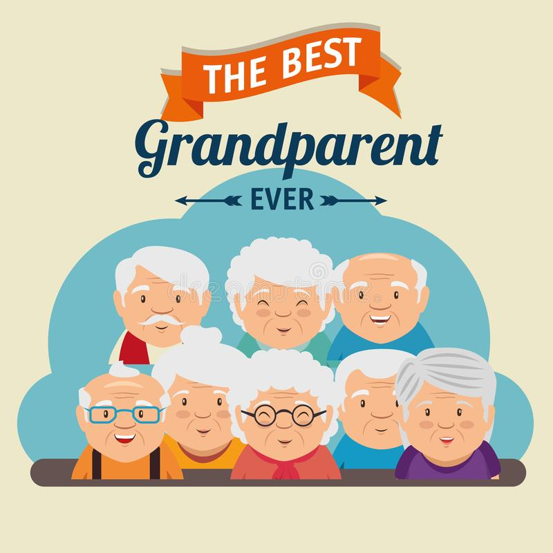 Grandparents day greeting card. Vector illustration graphic design stock illustration