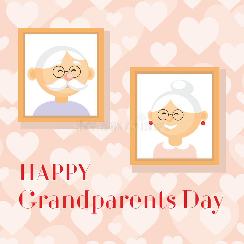 Grandparents day greeting. Card with the image of the grandmother and grandfather vector illustration