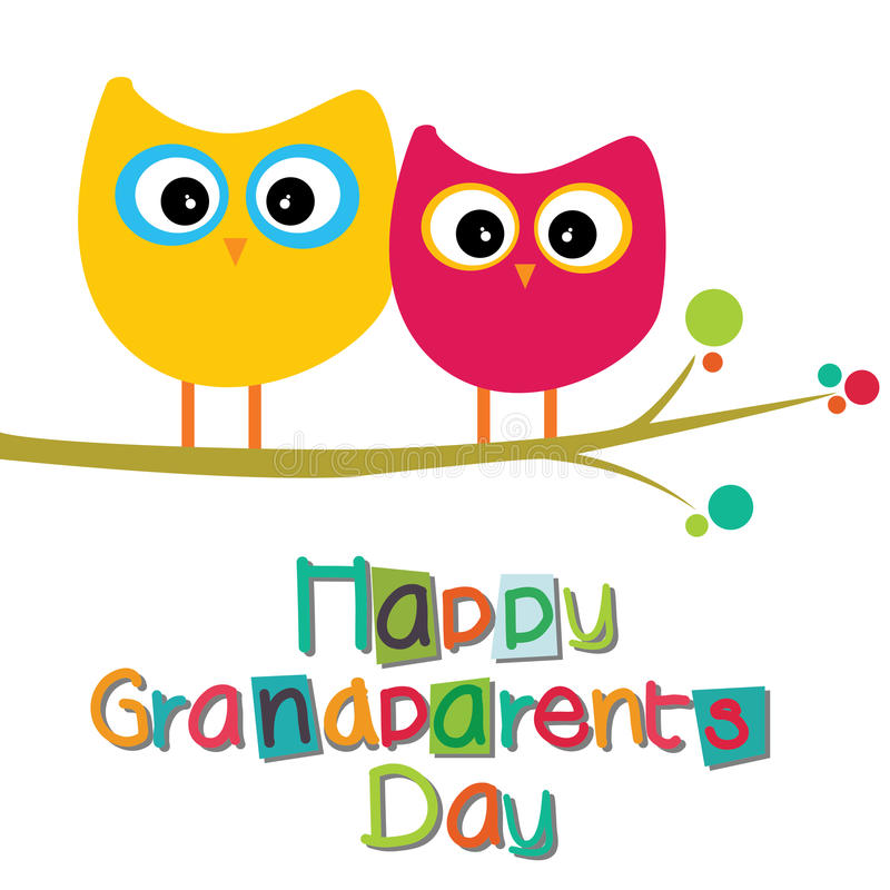 Grandparents day. Happy grandparents day text with two owls on white background royalty free illustration