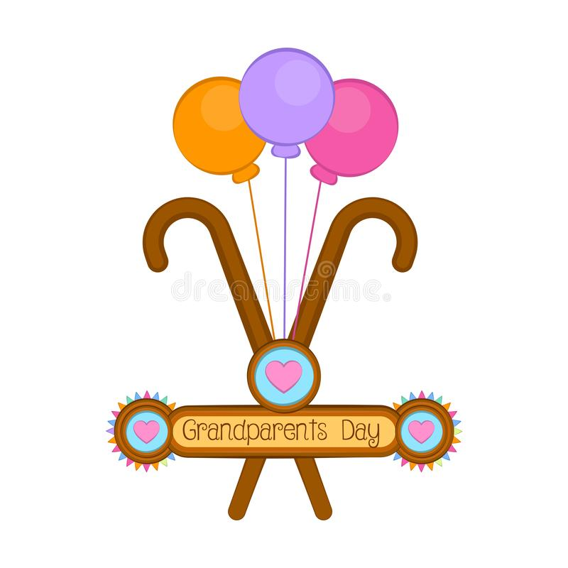 Grandparents day illustration. Grandparents day image with a wooden walking sticks and balloons - Vector illustration stock illustration