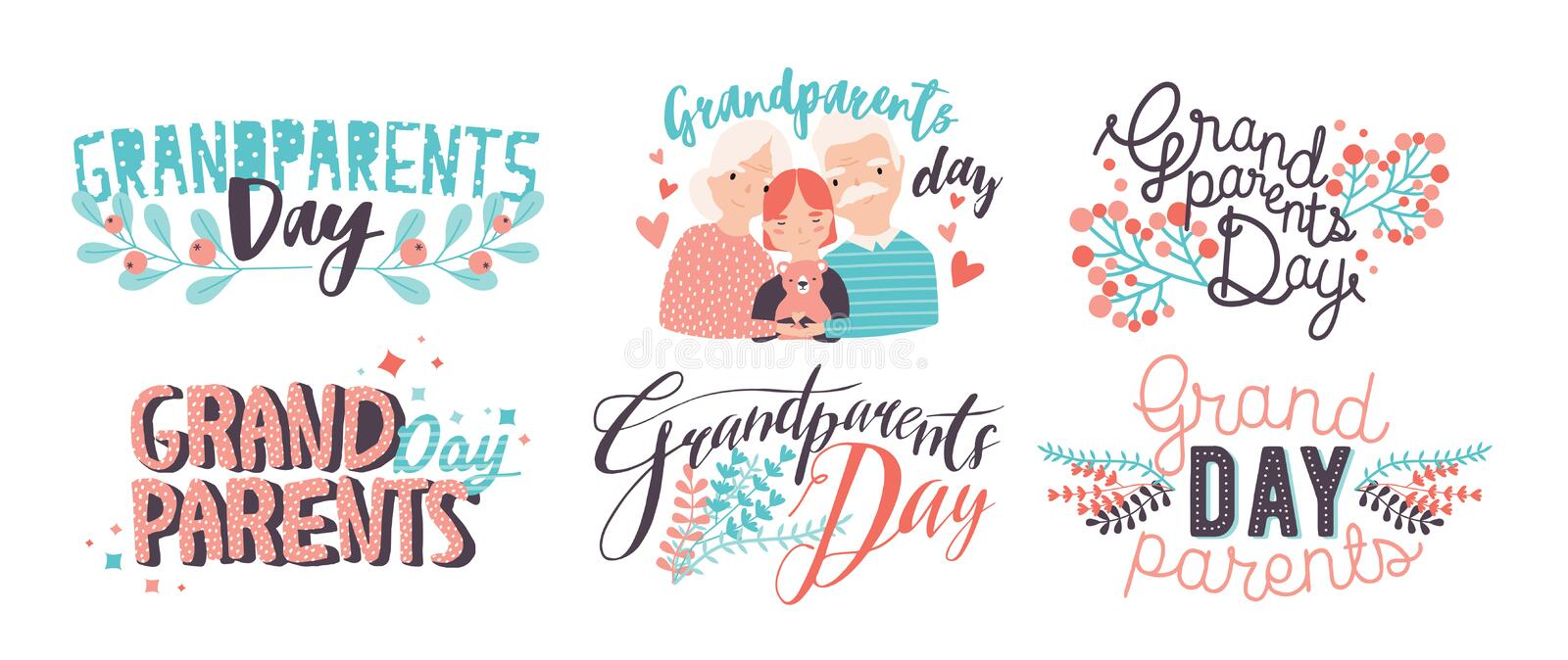 Grandparents day lettering. Different hand drawn colorful inscriptions with curly fonts and decor elements. Grandparents day lettering. Different hand drawn stock illustration