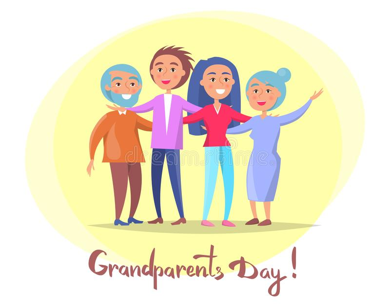 Grandparents Day Poster Senior Couple and Children. Grandparents day posters set with senior couple and their adult children having fun together vector vector illustration