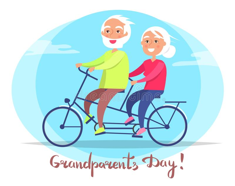 Grandparents Day Senior Couple on Bicycle Vector. Grandparents day poster with senior couple riding on bike. Grandmother and grandfather sit on bicycle together stock illustration