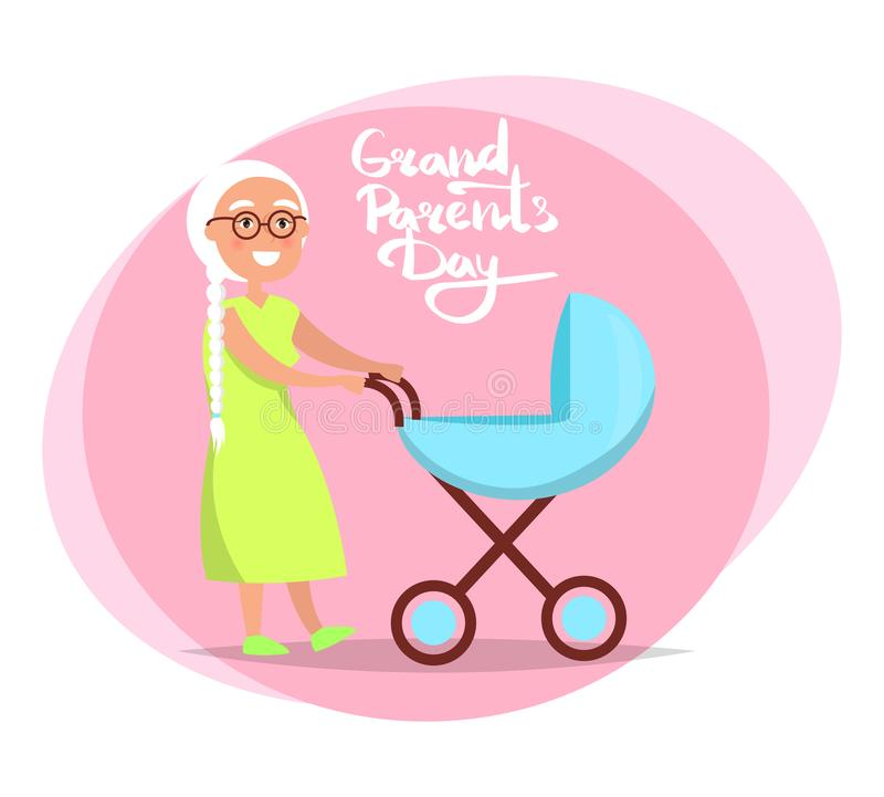 Grandparents Day Senior Lady with Pram Vector. Grandparents day poster with senior lady with trolley pram taking care about newborn child vector illustration royalty free illustration