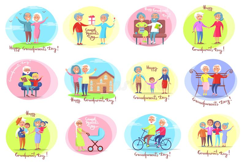 Grandparents Day Set of Posters, Daily Activities. Grandparents day set of posters with daily activities of grandmother and grandfather with their grandchildren royalty free illustration