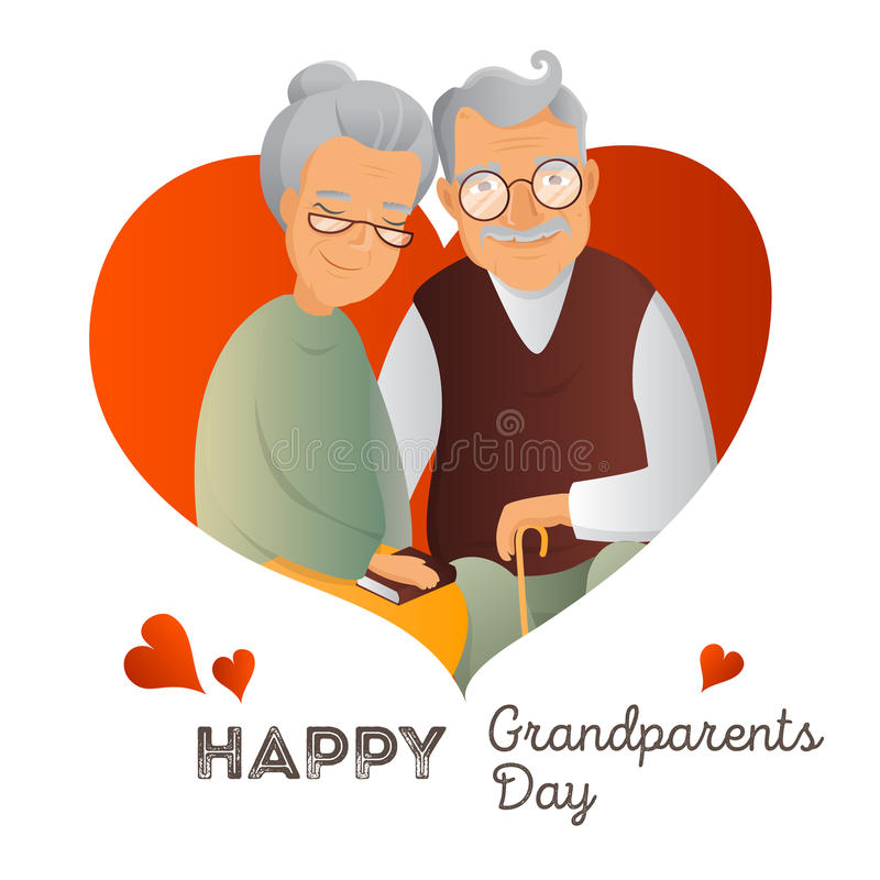 Grandparents Day vector design template. Illustration with grandfather and grandmother. Cute old couple greeting card. Love and devotion concept stock illustration