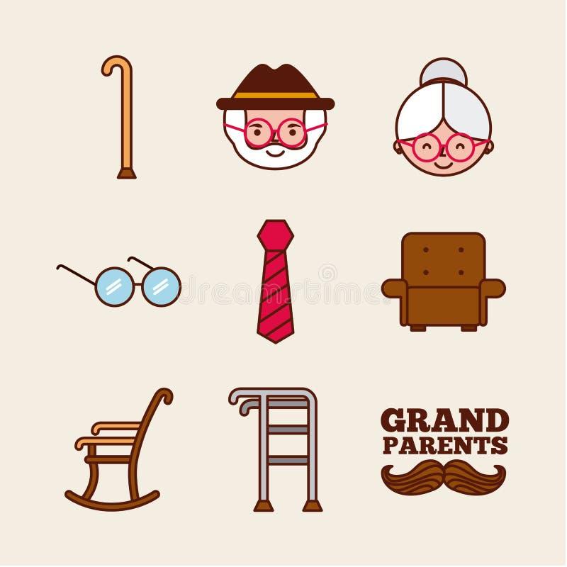 Grandparents design. Grandparents related objects over beige background. Vector illustration royalty free illustration