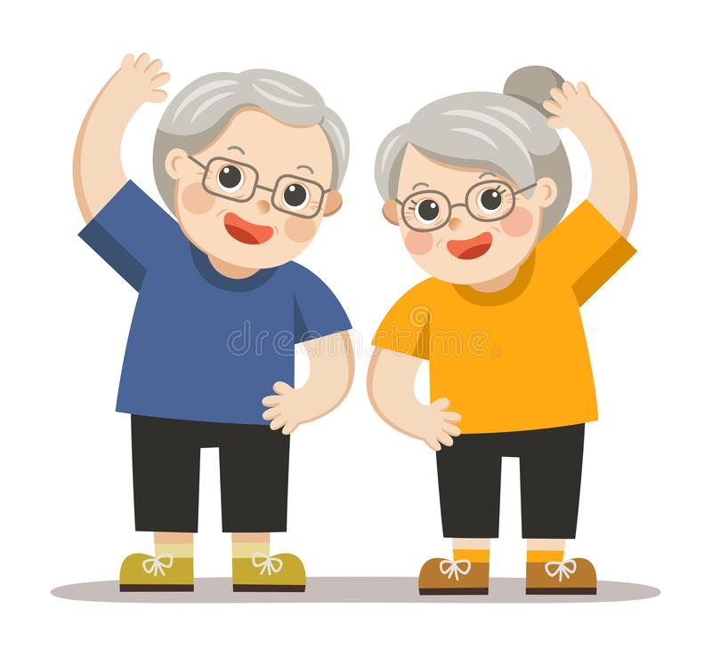 Grandparents doing exercises. Senior people and gymnastics. Grandparents doing exercises. Elderly couple royalty free illustration