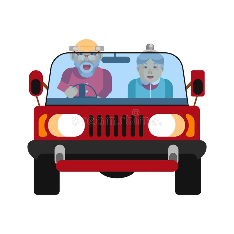 Grandparents driving on jeep car isolated on white. Vector illustration. Grandparents driving in car isolated on white. Happy grandmother and grandfather on jeep royalty free illustration